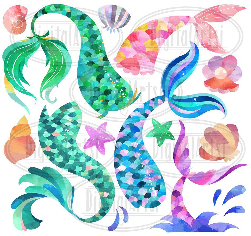 Watercolor Mermaid Tails Clipart #images#sample#visible.