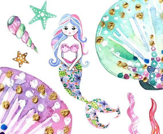 watercolor mermaid Clipart. mermaid Printable. Baby Shower.