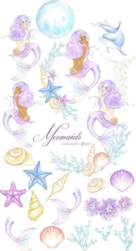Watercolor Mermaid Clipart, Magic Ocean Illustration, Summer.