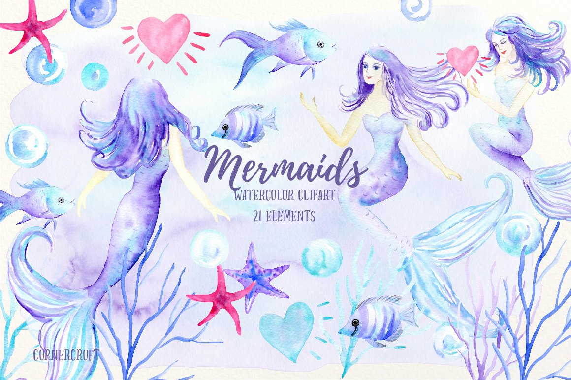 Mermaid clip art, watercolor mermaid, mermaids, fish, star fish, bubbles,  hearts for instant download, mermaid clipart.