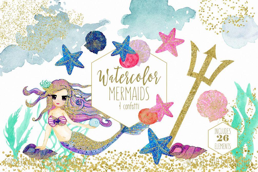 WATERCOLOR MERMAID Clipart with Metallic Gold Confetti Mermaids Shells  Starfish Ocean Watercolour Splash Graphics.