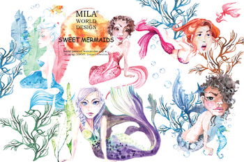 Watercolor Sweet Mermaids Clipart.