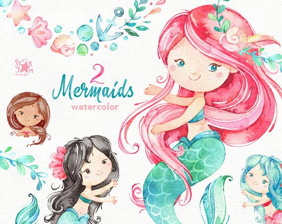 Mermaids 2. Watercolor clipart, sea, girls, magic, fairytale.