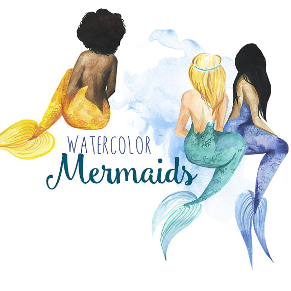 Watercolor Mermaid clipart, Mermaids clip art, Fantasy.