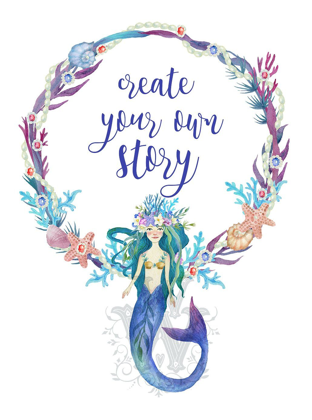 Princess Mermaid clipart set #paper#projects#designs#wedding.