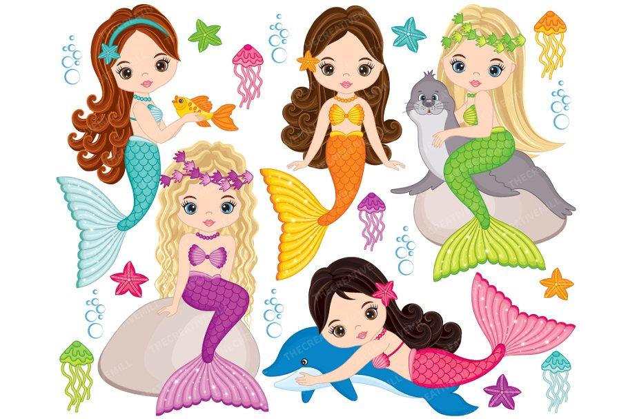 Vector Mermaids Clipart ~ Illustrations ~ Creative Market.