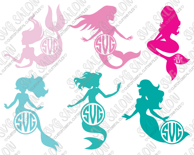 Mermaid Circle Monogram Frame Custom DIY Cutting File Set in SVG, EPS, DXF,  JPEG, and PNG Format.