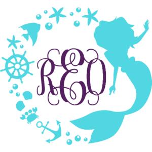 Mermaid Circle Monogram Decal.