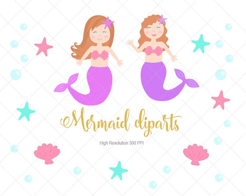 Mermaid Clipart Instant Download, Mermaid Clipart, Mermaid PNG files.