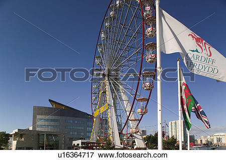 Picture of Wales, Glamorgan, Cardiff, A giant ferris wheel at.