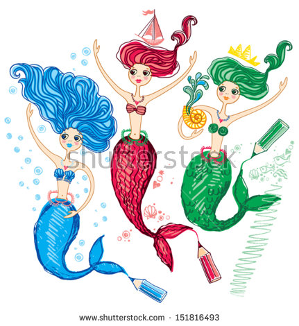 Three Mermaids Stock Photos, Royalty.
