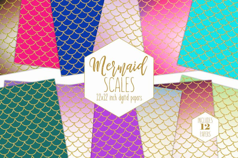 GOLD MERMAID SCALE Digital Paper Pack Ocean Fish Backgrounds Pink Teal  Rainbow Scrapbook Paper Birthday Girl Pattern Party Printable Clipart.