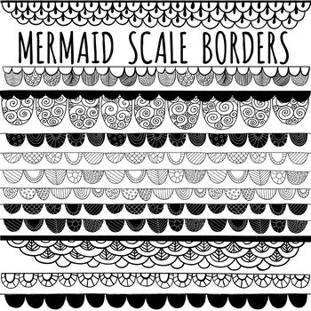 Mermaid Scale Border ClipArt, Black Line Page Divider Accents.