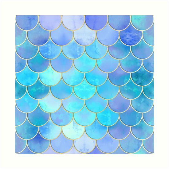 'Aqua Pearlescent & Gold Mermaid Scale Pattern' Art Print by tanyadraws.