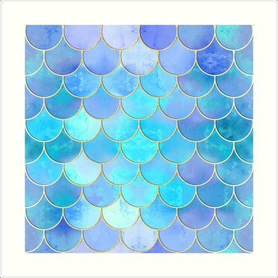 'Aqua Pearlescent & Gold Mermaid Scale Pattern' Art Print by tanyadraws.