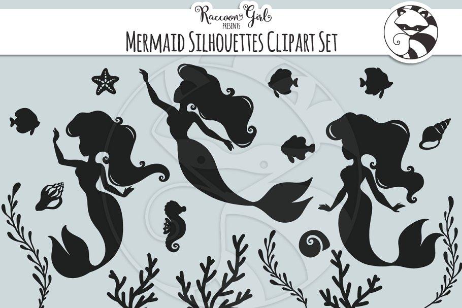 Mermaid Silhouette Clipart Set.