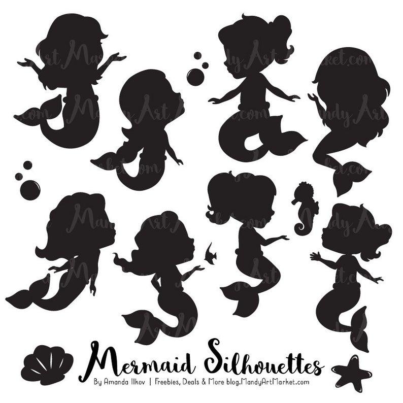 Cute Mermaid Silhouette Clipart.