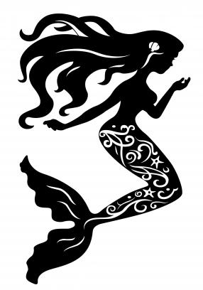 Mermaid silhouette Free vector.