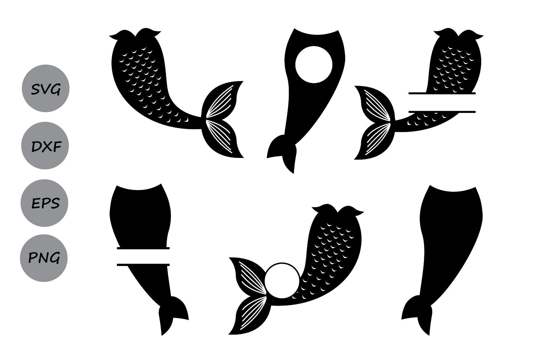 Mermaid Tail SVG, Mermaid Monogram SVG, Mermaid Svg, Mermaid Tail Clipart,  Fish Svg, Mermaid Silhouette, Cricut Files, svg, dxf, eps, png..
