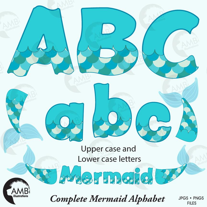 Mermaid alphabet, Mermaid letters, Mermaid scales, Mermaid tail clipart,  vector graphics, digital clip art, AMB.