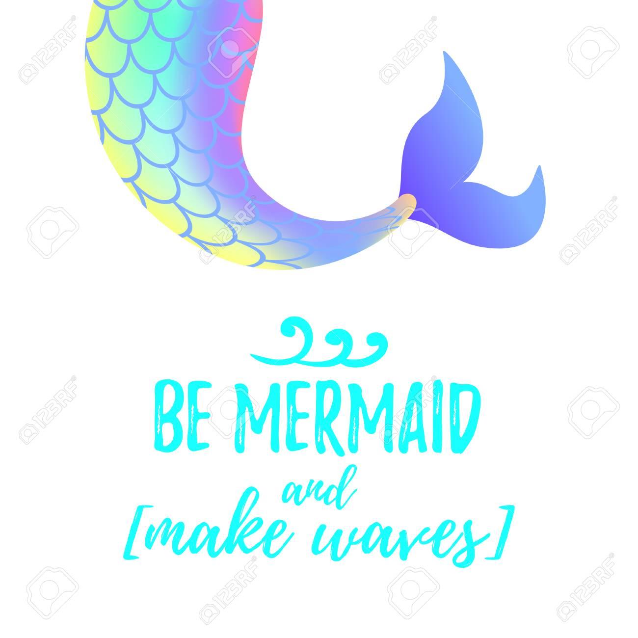 Vector cartoon style illustration of cute mermaid tail. Mermay...