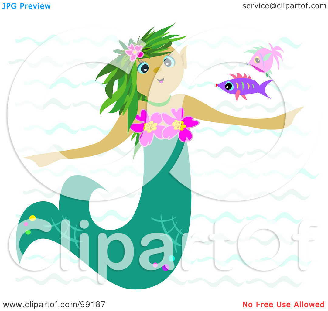 Mermaid Coming Out Of The Water Clipart.