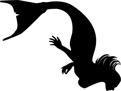 Mermaid black and white mermaid tail silhouette black and white.