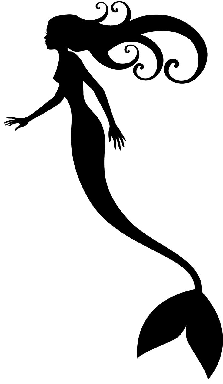 mermaid tail silhouette black and white clipart #18