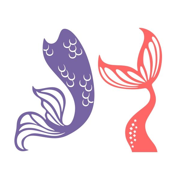 Mermaid Tail Silhouette Clipart.