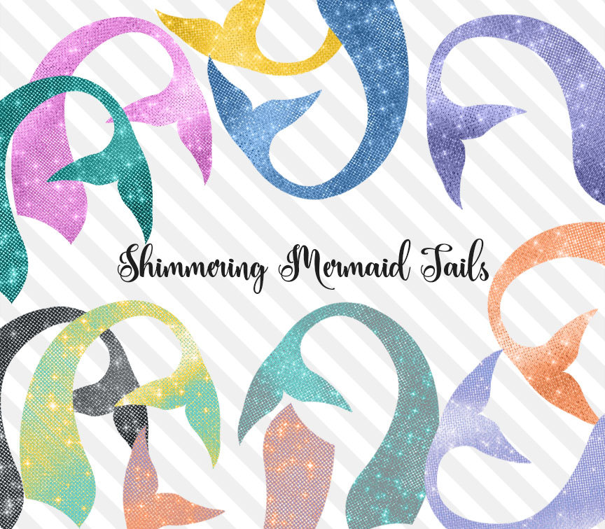 Shimmering Mermaid Tails Clipart.