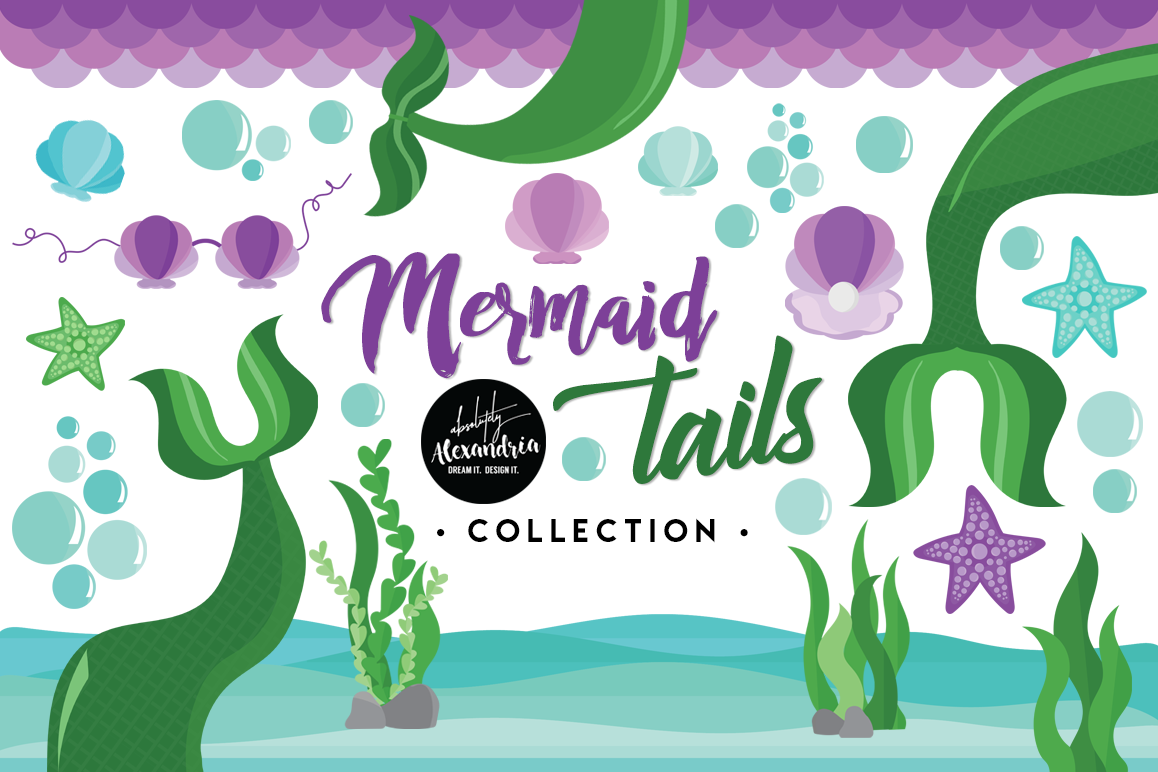 Mermaid Tails Clipart Graphics & Digital Paper Patterns Bundle.