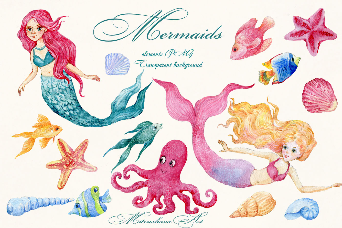 Mermaids. watercolor clipart By Clipart Shop.