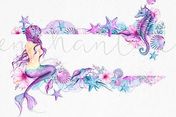 Mermaid Clipart Watercolor Sea Underwater Illustration.