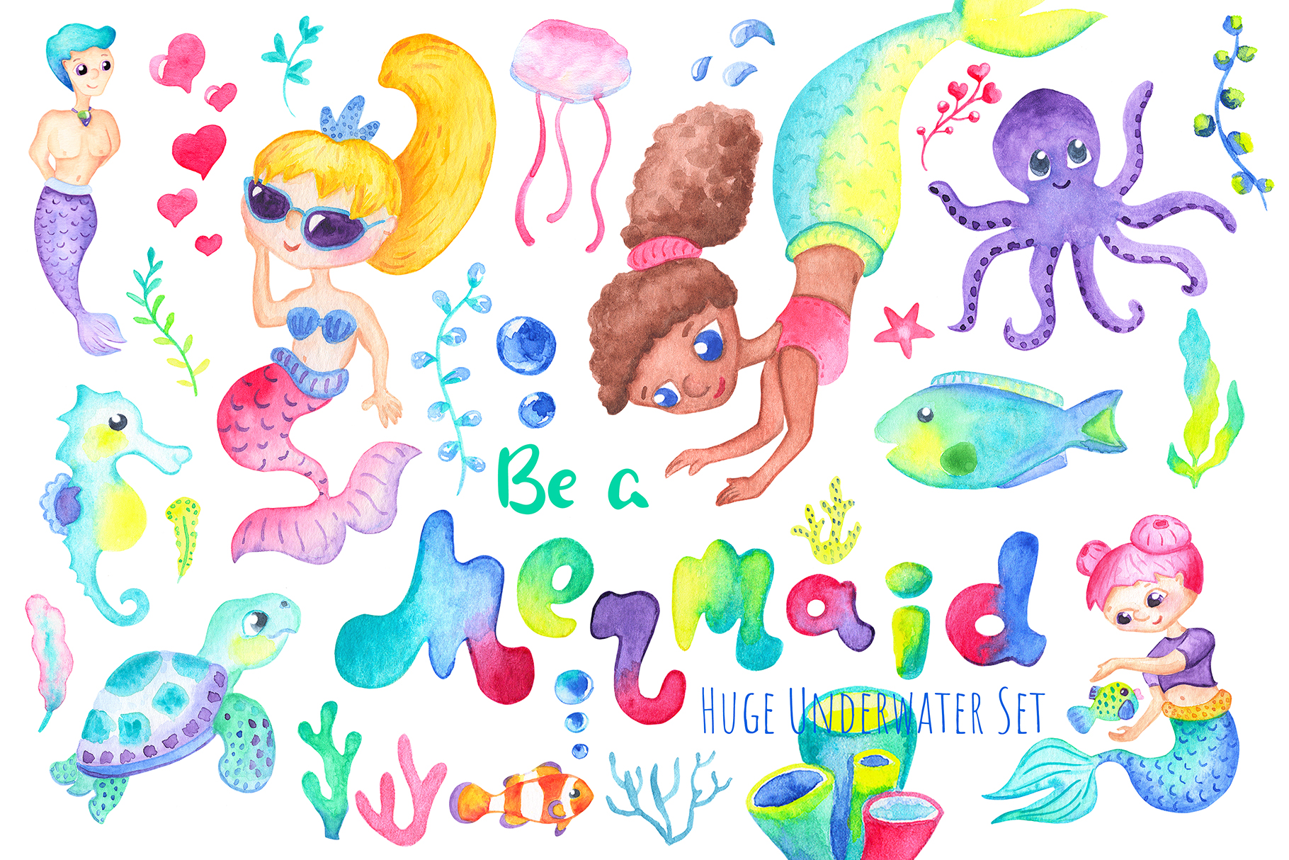 Be A Mermaid Watercolor Clipart.