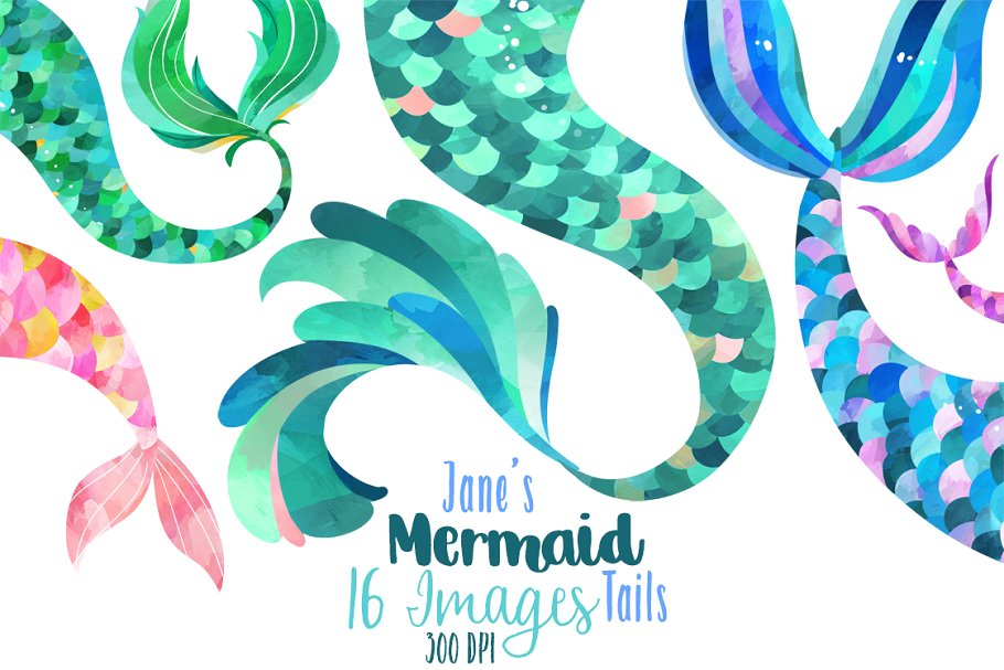 Watercolor Mermaid Tails Clipart.