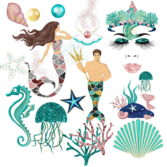 Mermaid clipart, glitter mermaids, african american, mermaid.