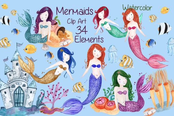 Watercolor Mermaids clip art.