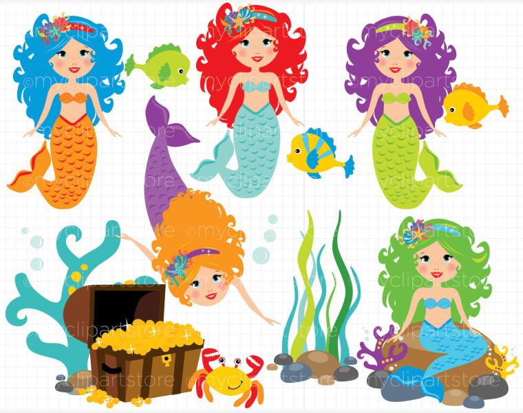 Mermaids Clipart.