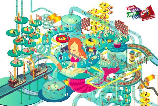"""Skittles: """"Skittles: Mermaid Tears Harvesting Factory"""" Print Ad by."""
