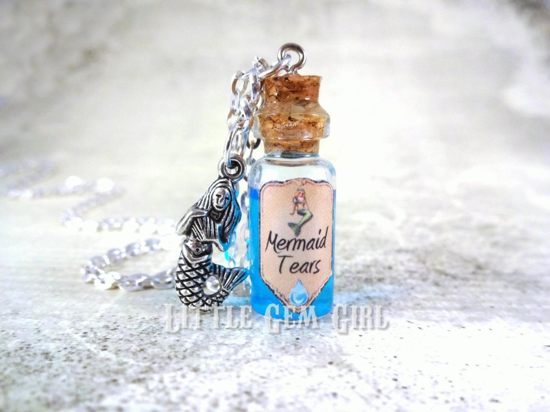 Mermaid Tears Bottle Necklace Glass Bottle Cork Necklace.