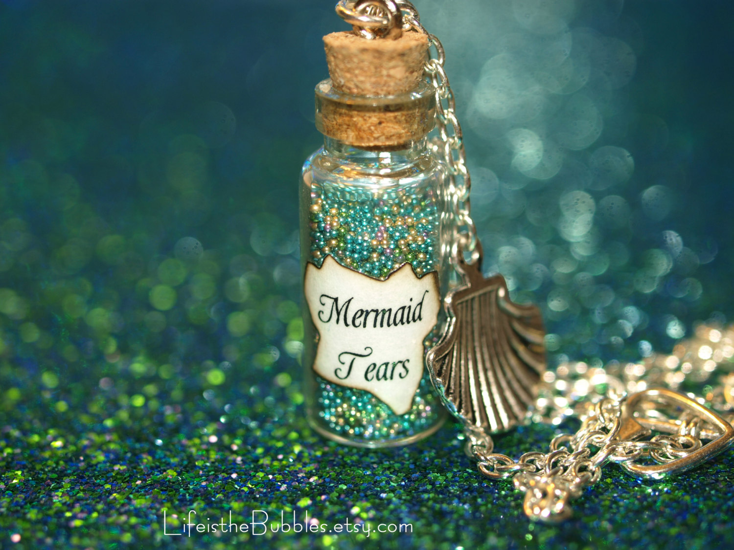 Mermaid Tears Bottle Necklace Sea Shell Charm by LifeistheBubbles.