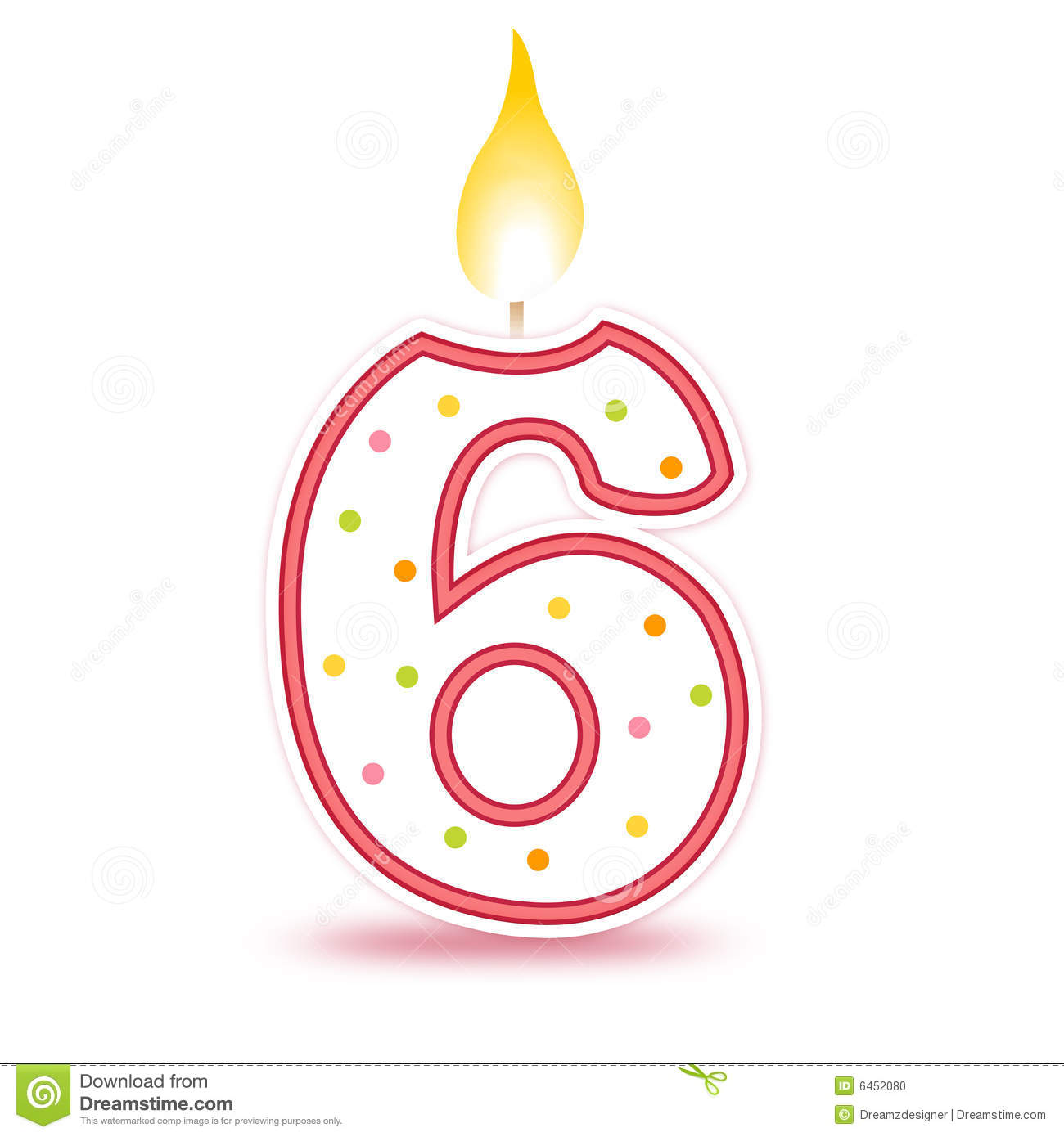 6th Candle Clipart.