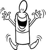 Clip Art of excited guy coloring page k18891939.