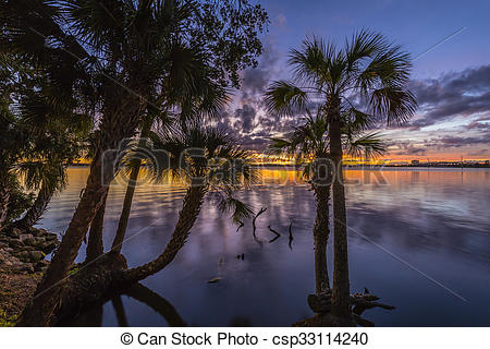 Stock Photo of Sunset Over the Indian River.