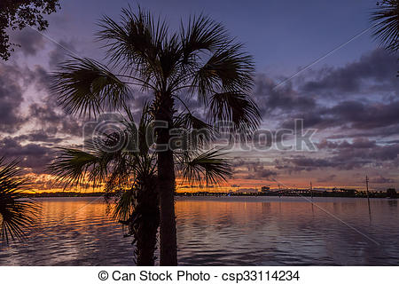 Stock Photos of Sunset Over the Indian River.