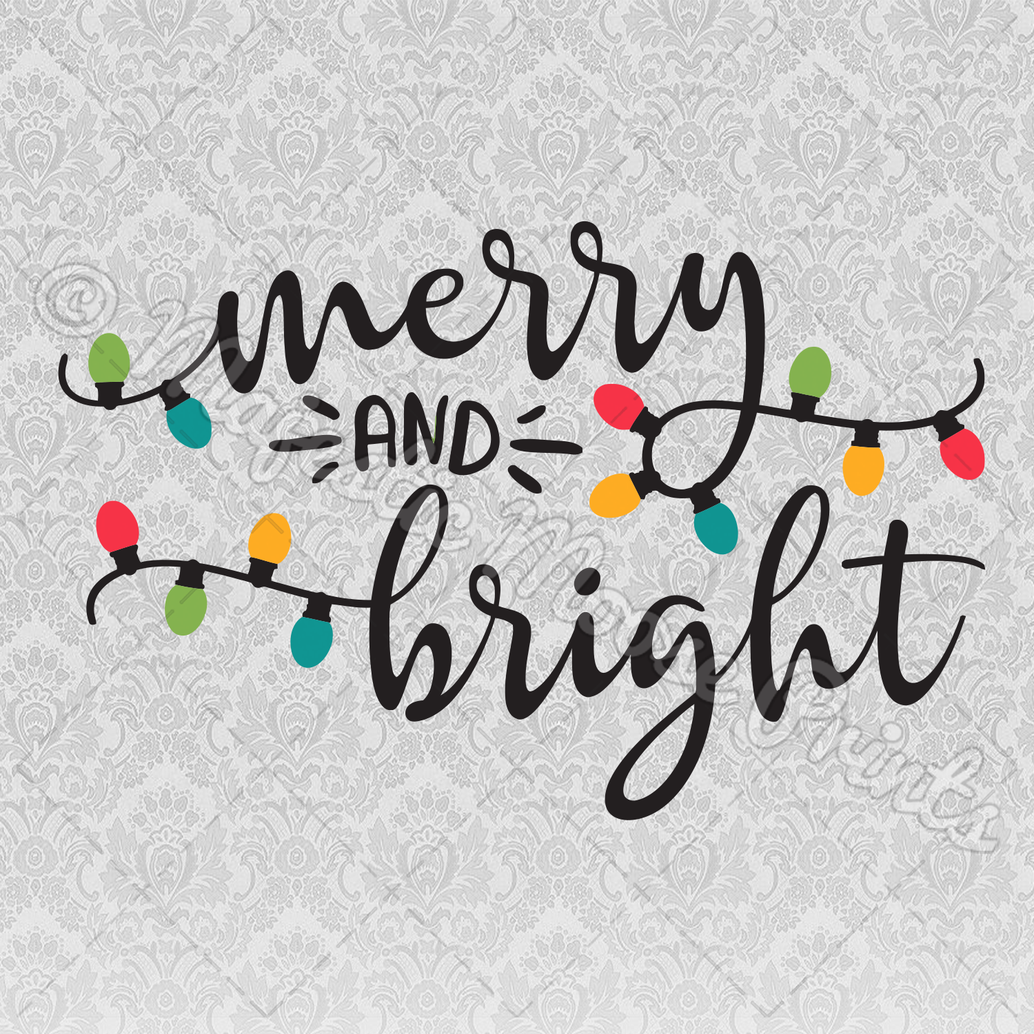 Merry and Bright SVG / Clipart / Cut File.