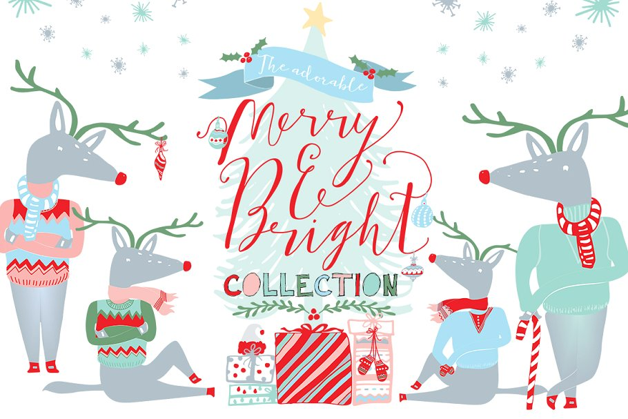 Merry and Bright Christmas Clipart ~ Illustrations.