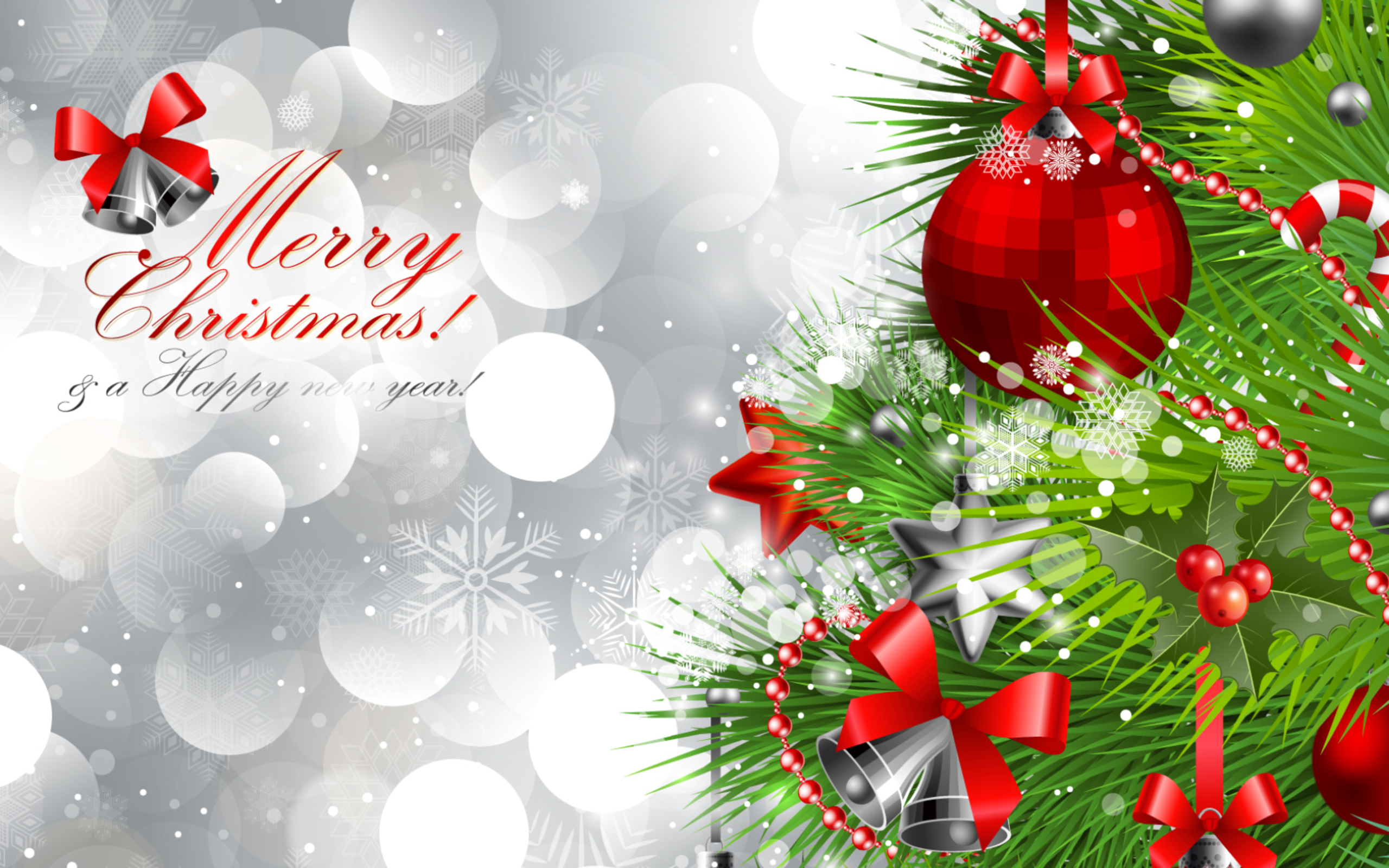 Merry Christmas and Happy New Year Silver Background.