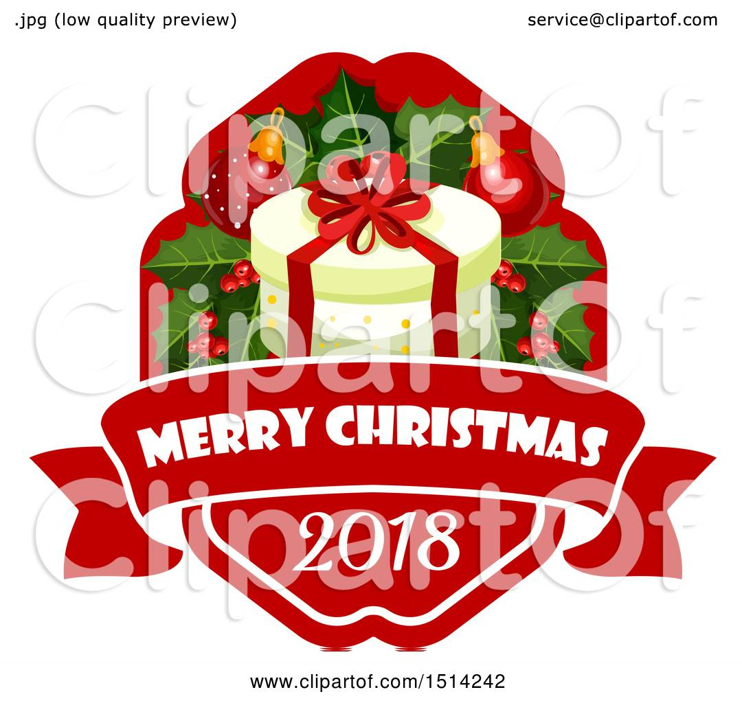 Clipart of a Merry Christmas 2018 Greeting with a Gift and.
