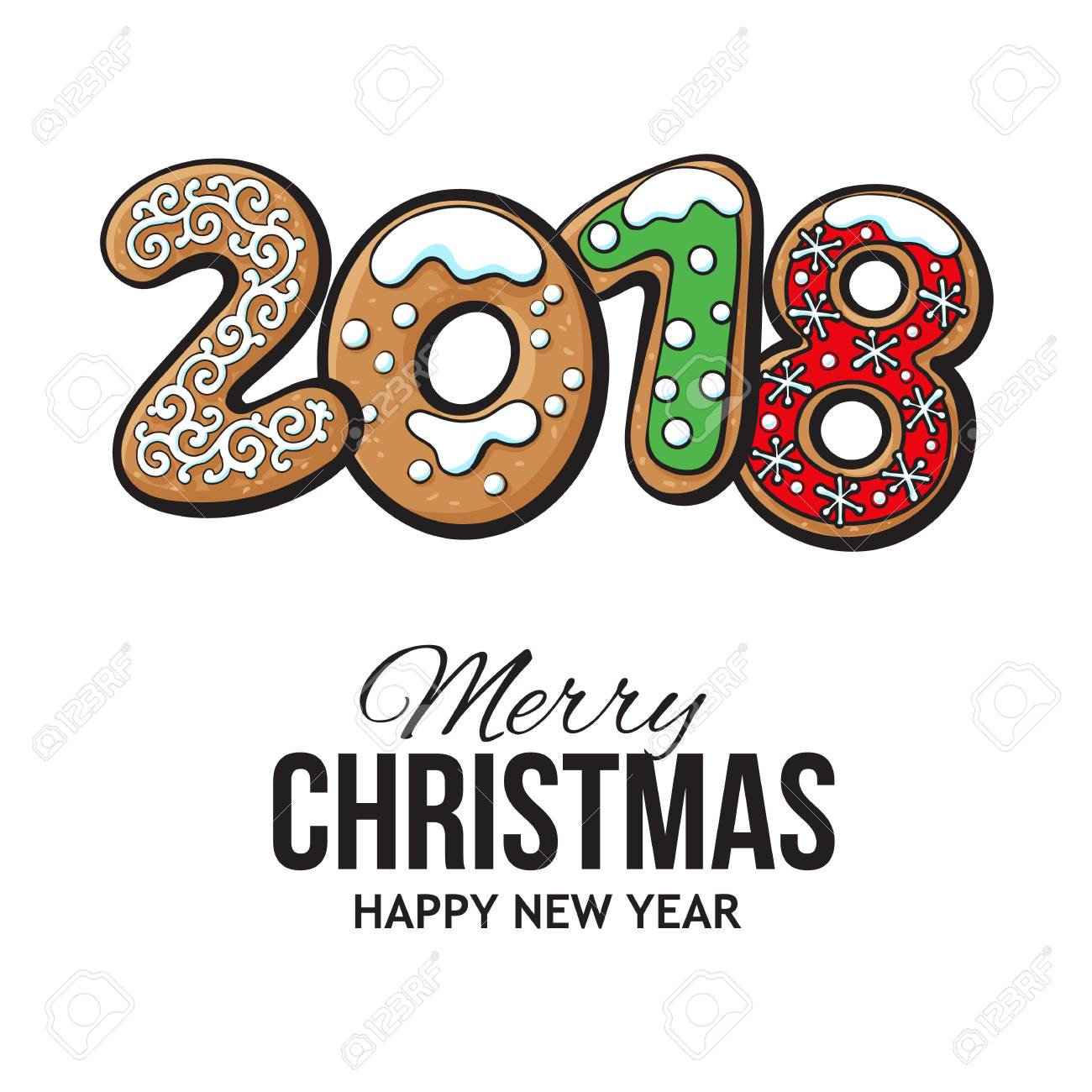 2018 Merry Christmas and New Year greeting card design with gingerbread...